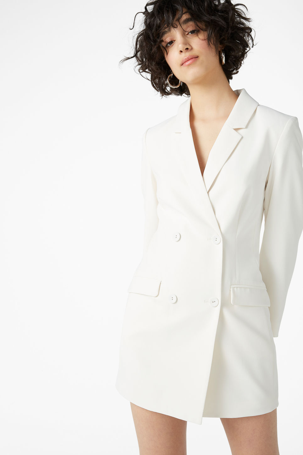 Model front image of Monki long blazer dress in white