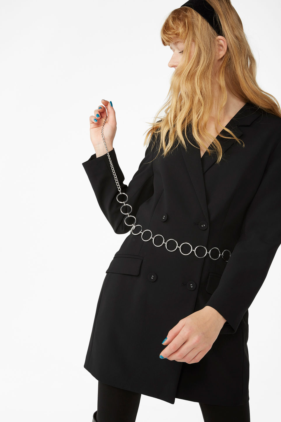 Model front image of Monki long blazer dress in black