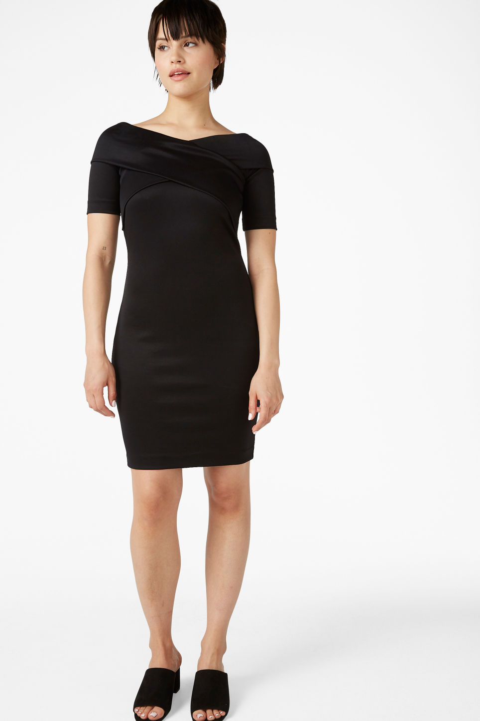 Model front image of Monki stretchy dress in black
