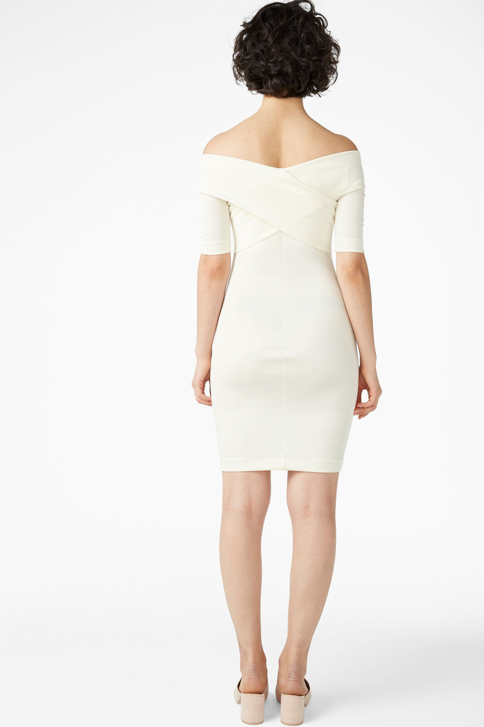 Model back image of Monki stretchy dress in white