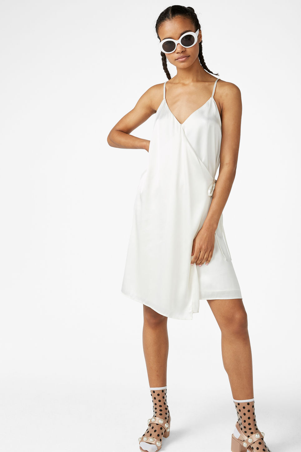 Model front image of Monki silky wrap dress in white