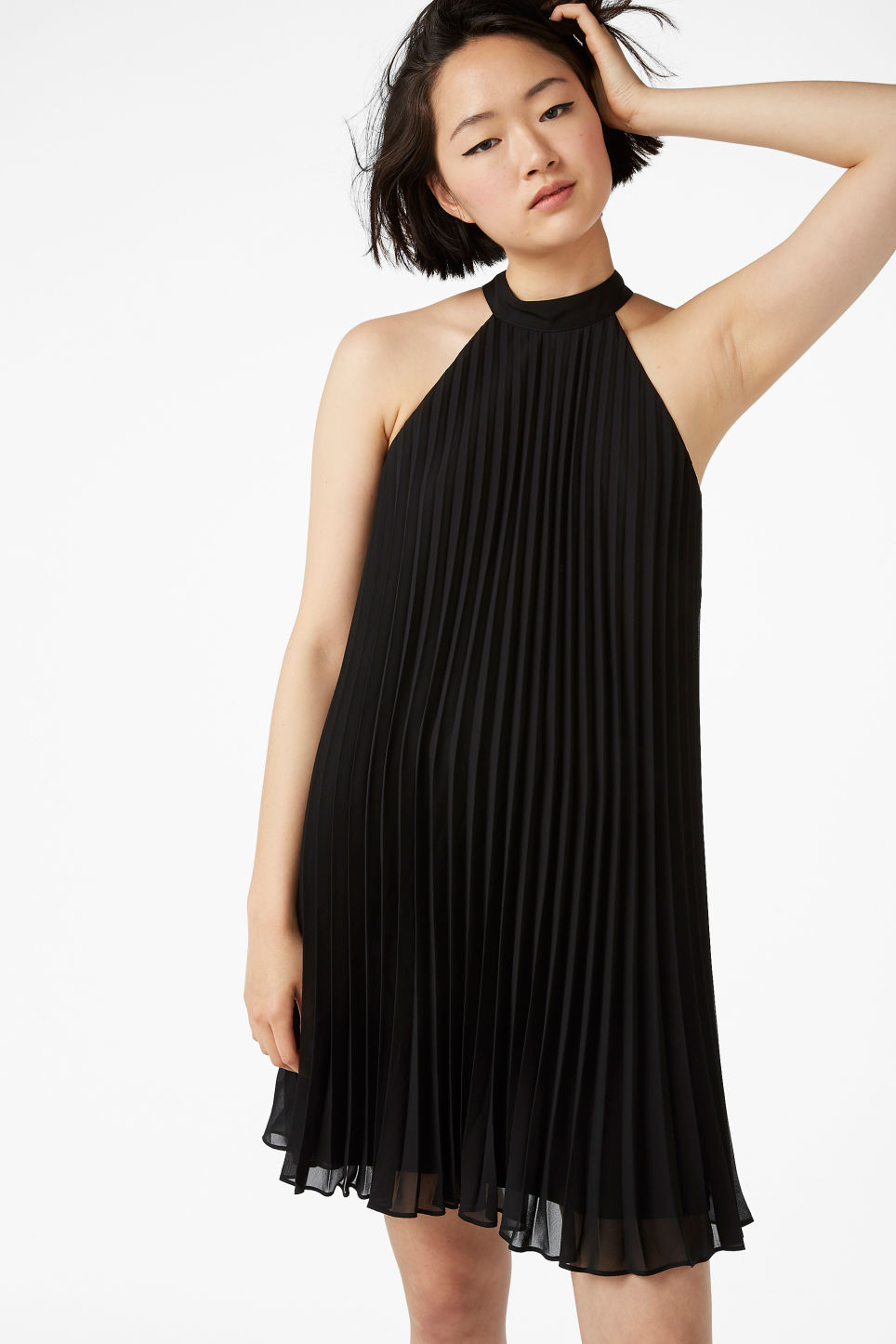 Model front image of Monki plissé party dress  in black