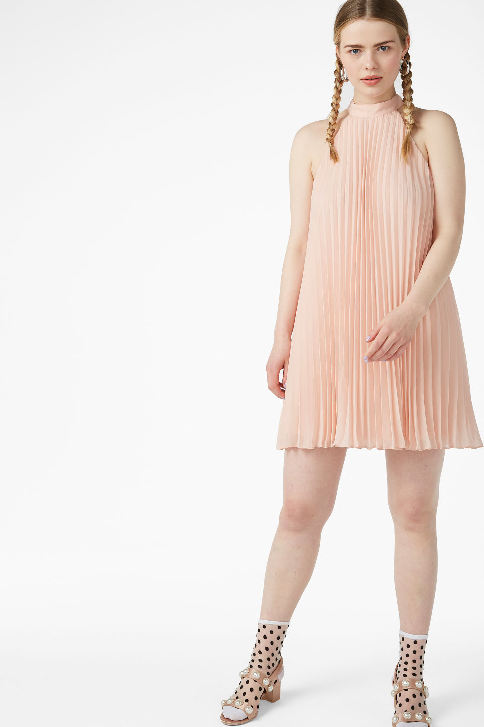 Model front image of Monki plissé party dress  in orange