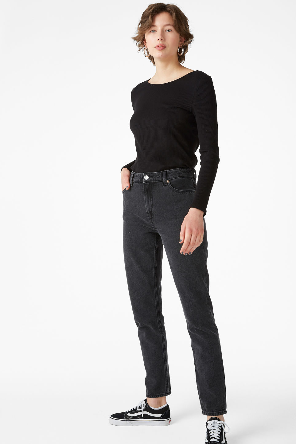 Model front image of Monki long-sleeved top in black