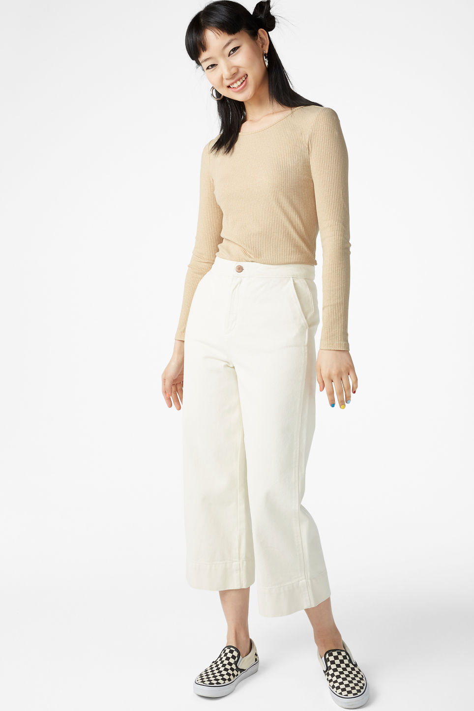 Model side image of Monki long-sleeved top in beige