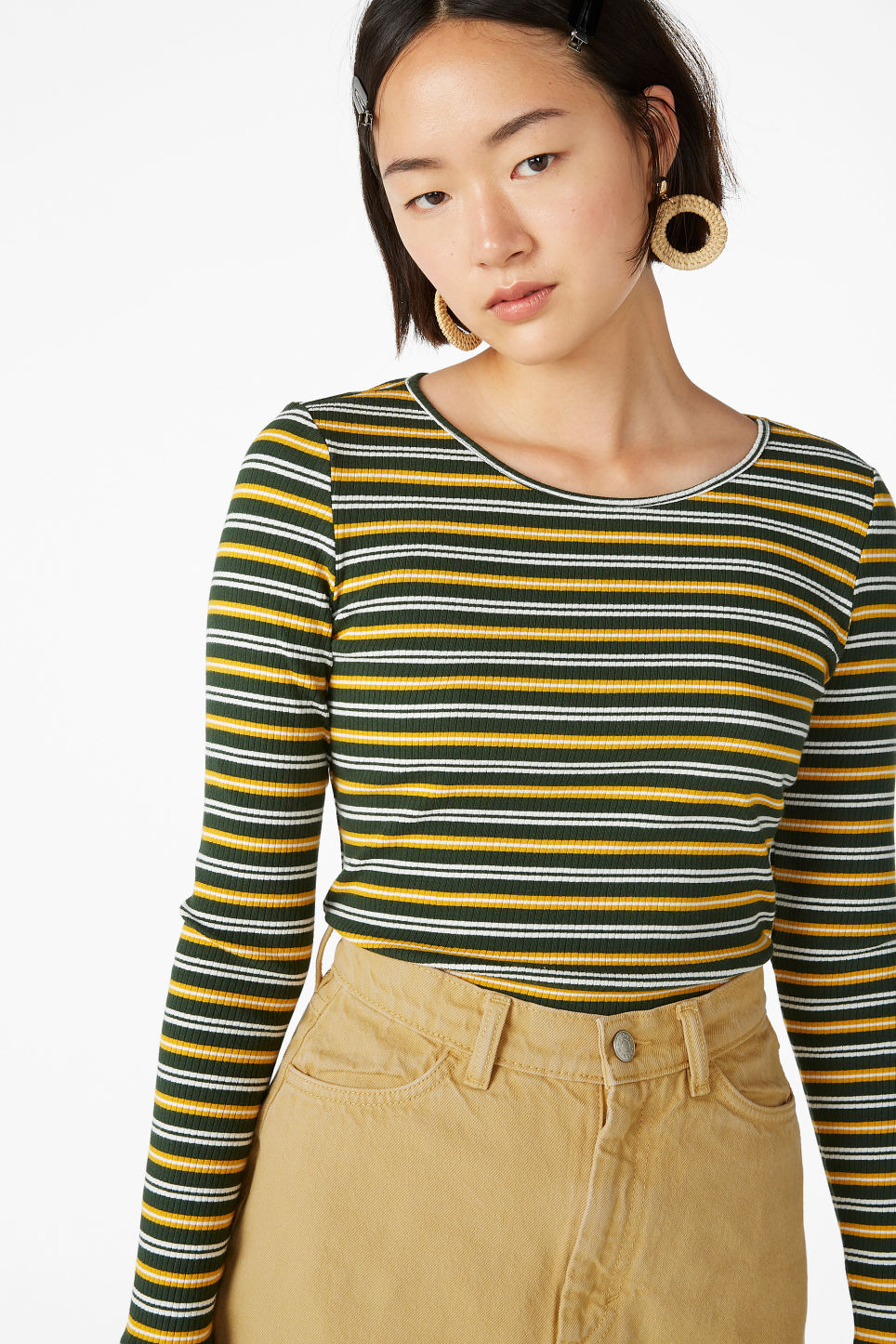Model front image of Monki long-sleeved top in green