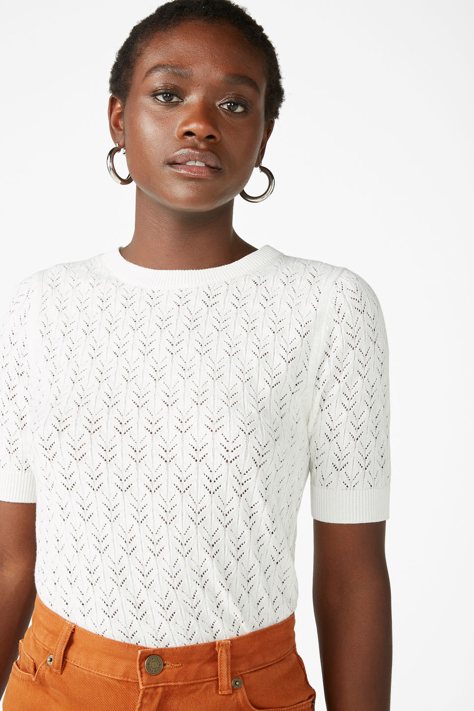 Model front image of Monki fine knit cotton top in white
