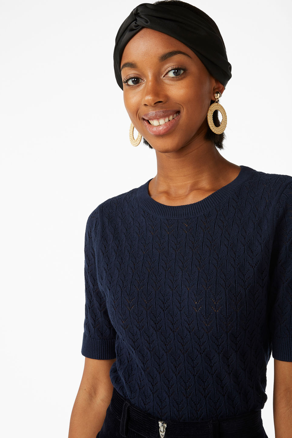 Model front image of Monki fine knit cotton top in blue