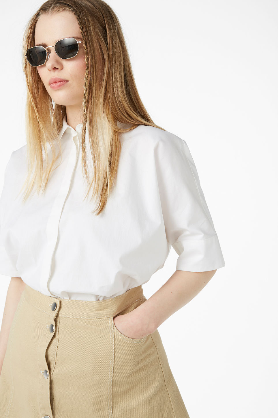 Model front image of Monki oversized hidden button blouse in white