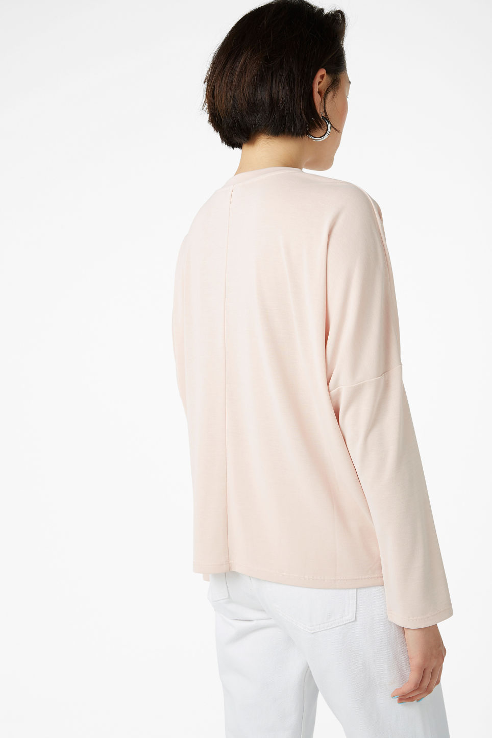 Model back image of Monki super-soft top in orange