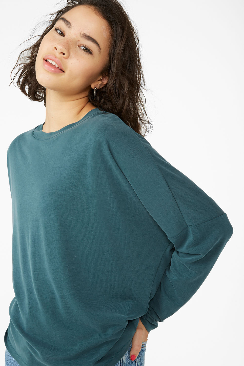 Model front image of Monki super-soft flowy top in green