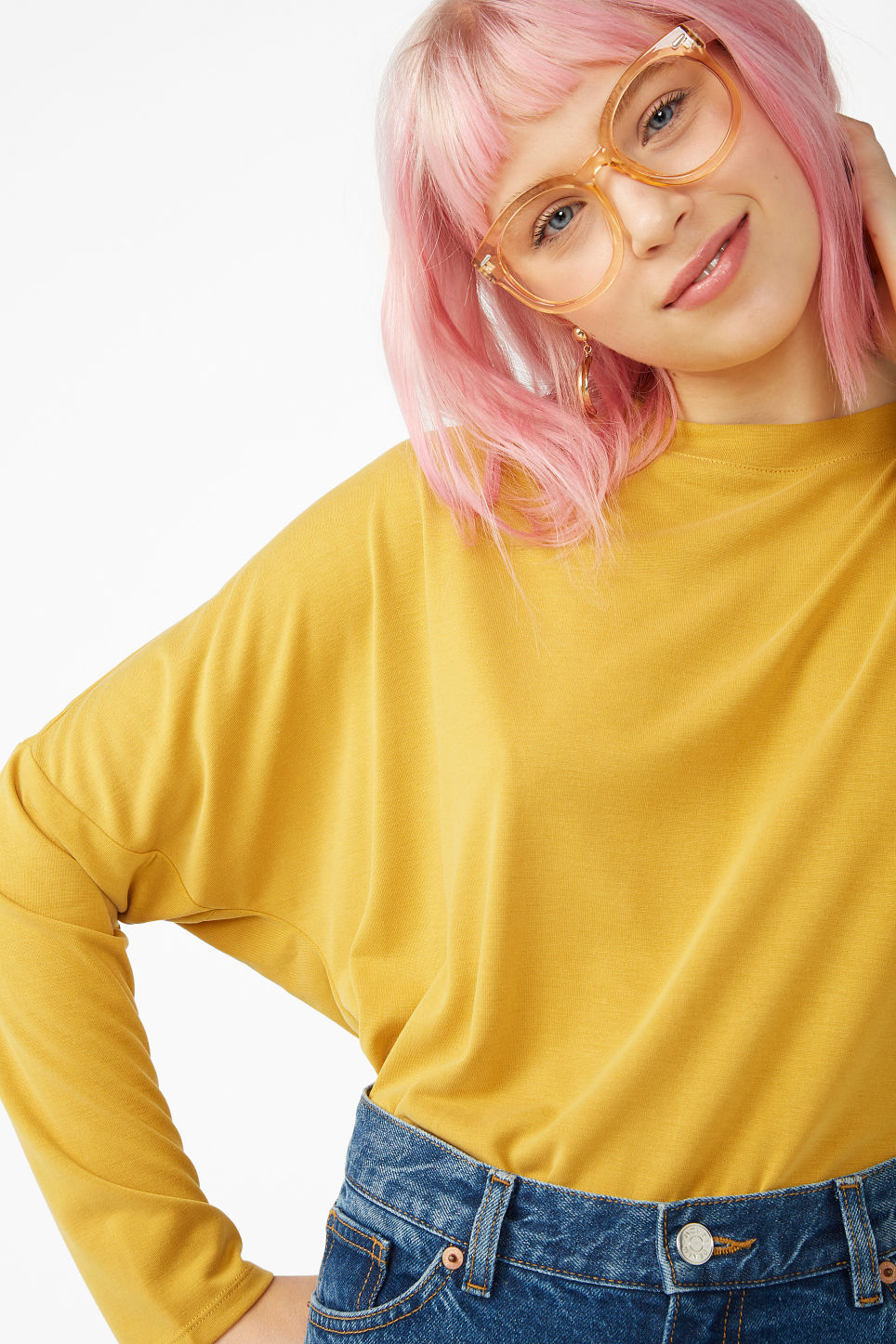 Model front image of Monki super-soft top in yellow