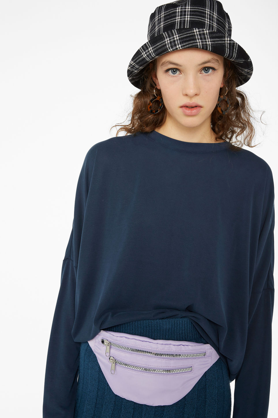Model front image of Monki super-soft flowy top in blue