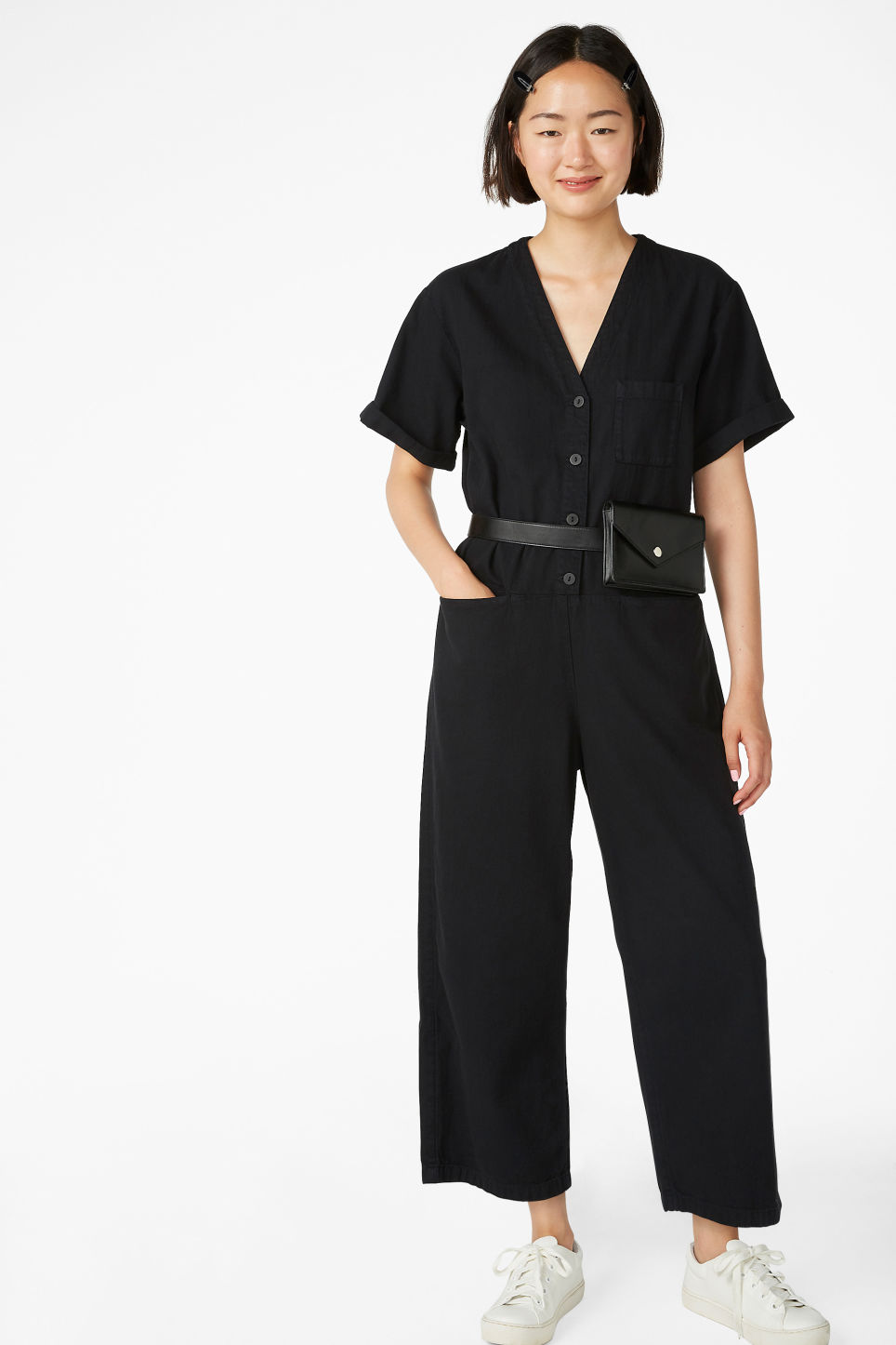Model front image of Monki v-neck denim jumpsuit in black