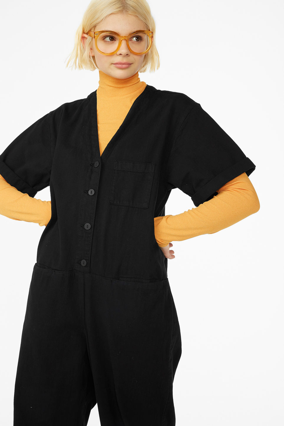 Model front image of Monki denim boilersuit in black