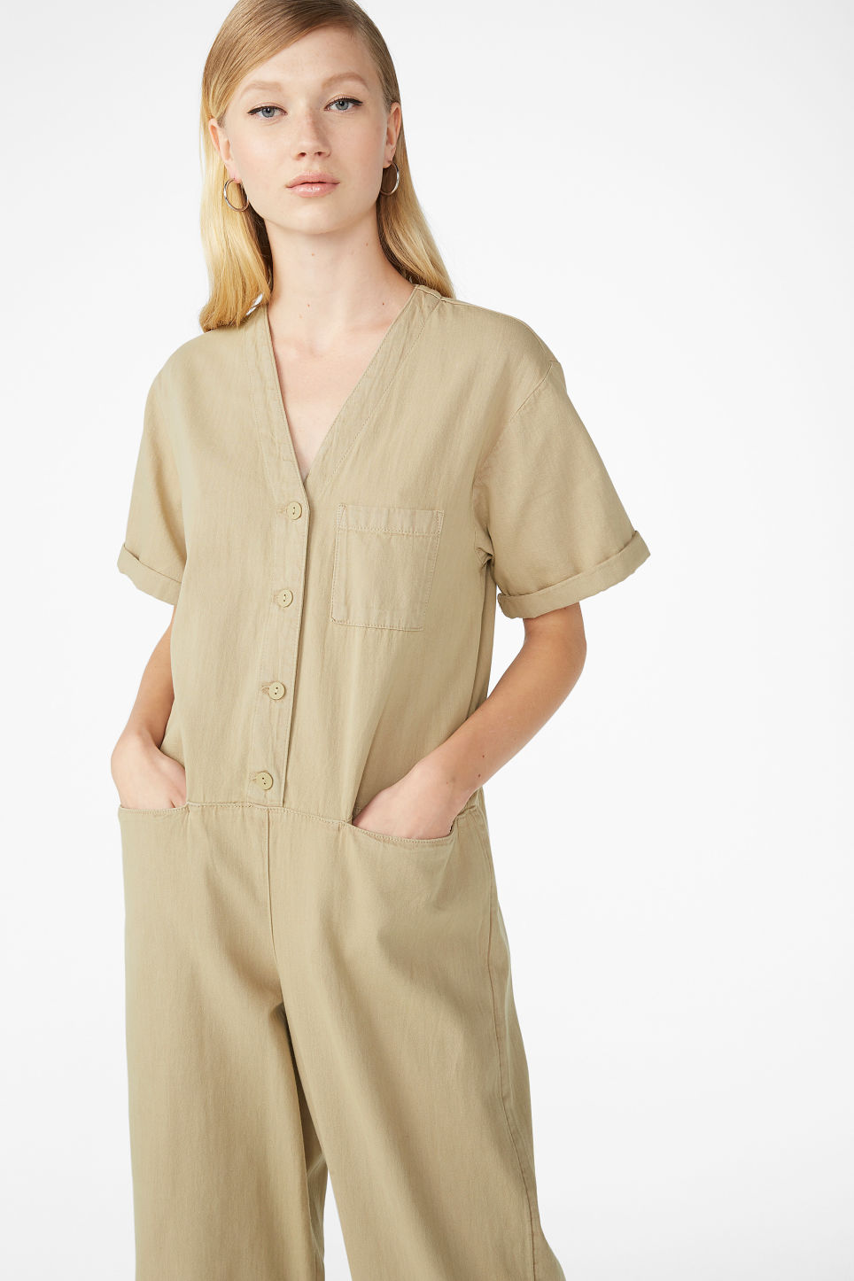Model front image of Monki denim boilersuit in beige