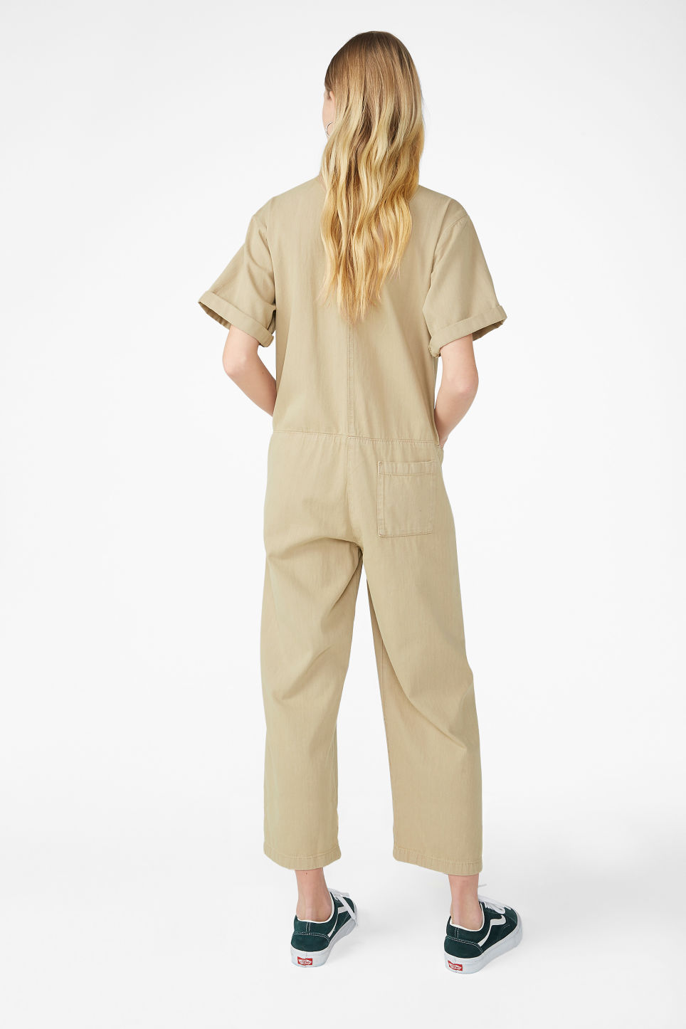 Model back image of Monki denim boilersuit in beige