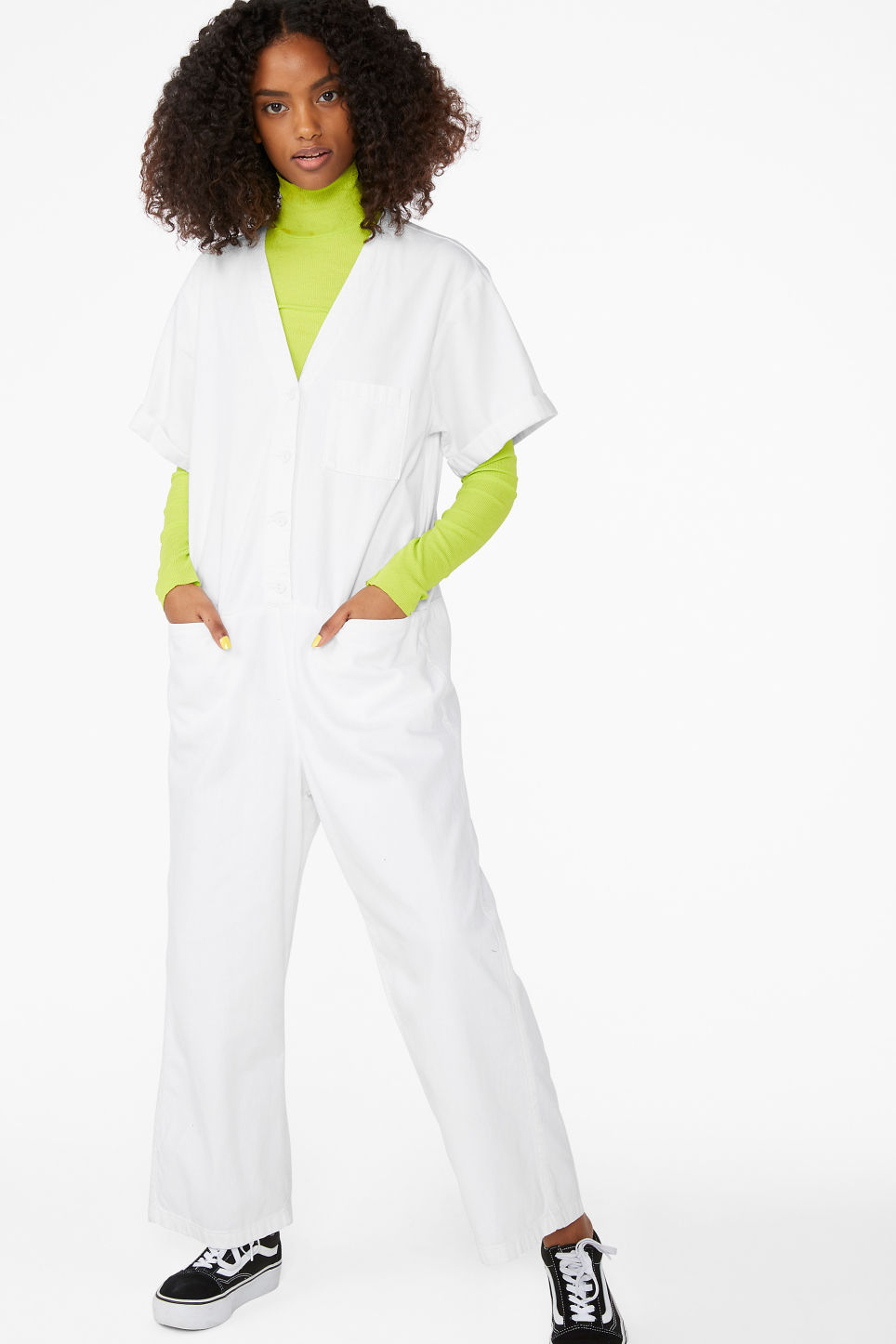 Model front image of Monki denim boilersuit in white