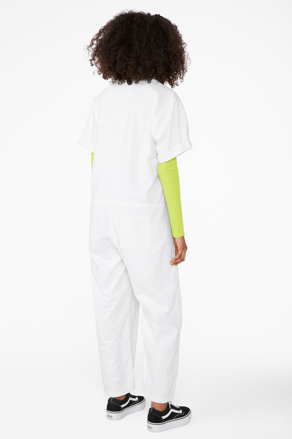 Model back image of Monki denim boilersuit in white