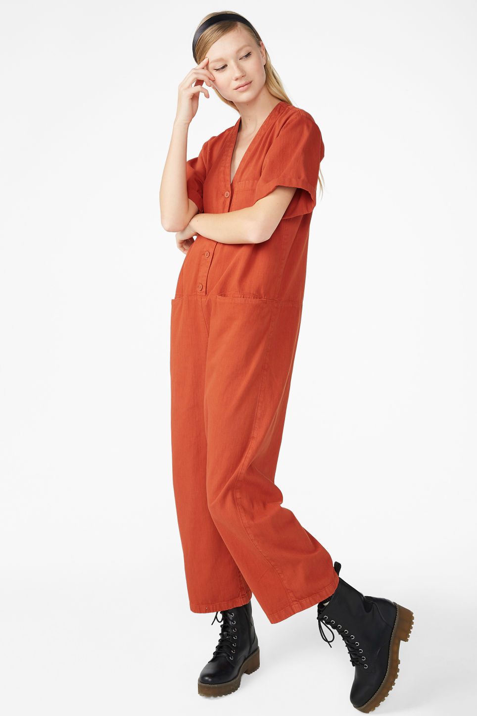 65b6818b543 Model front image of Monki denim boilersuit in orange