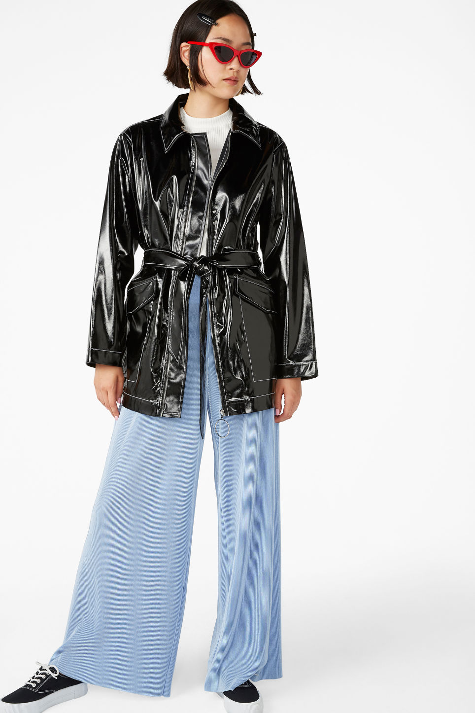 Model front image of Monki glossy patent leather jacket in black