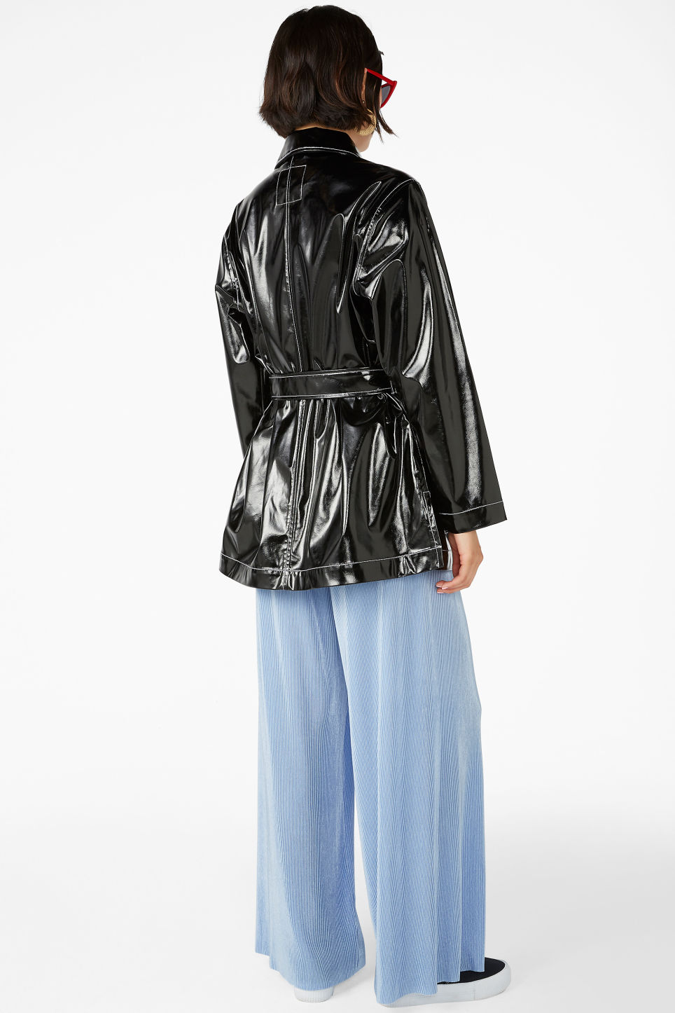 Model back image of Monki glossy patent leather jacket in black