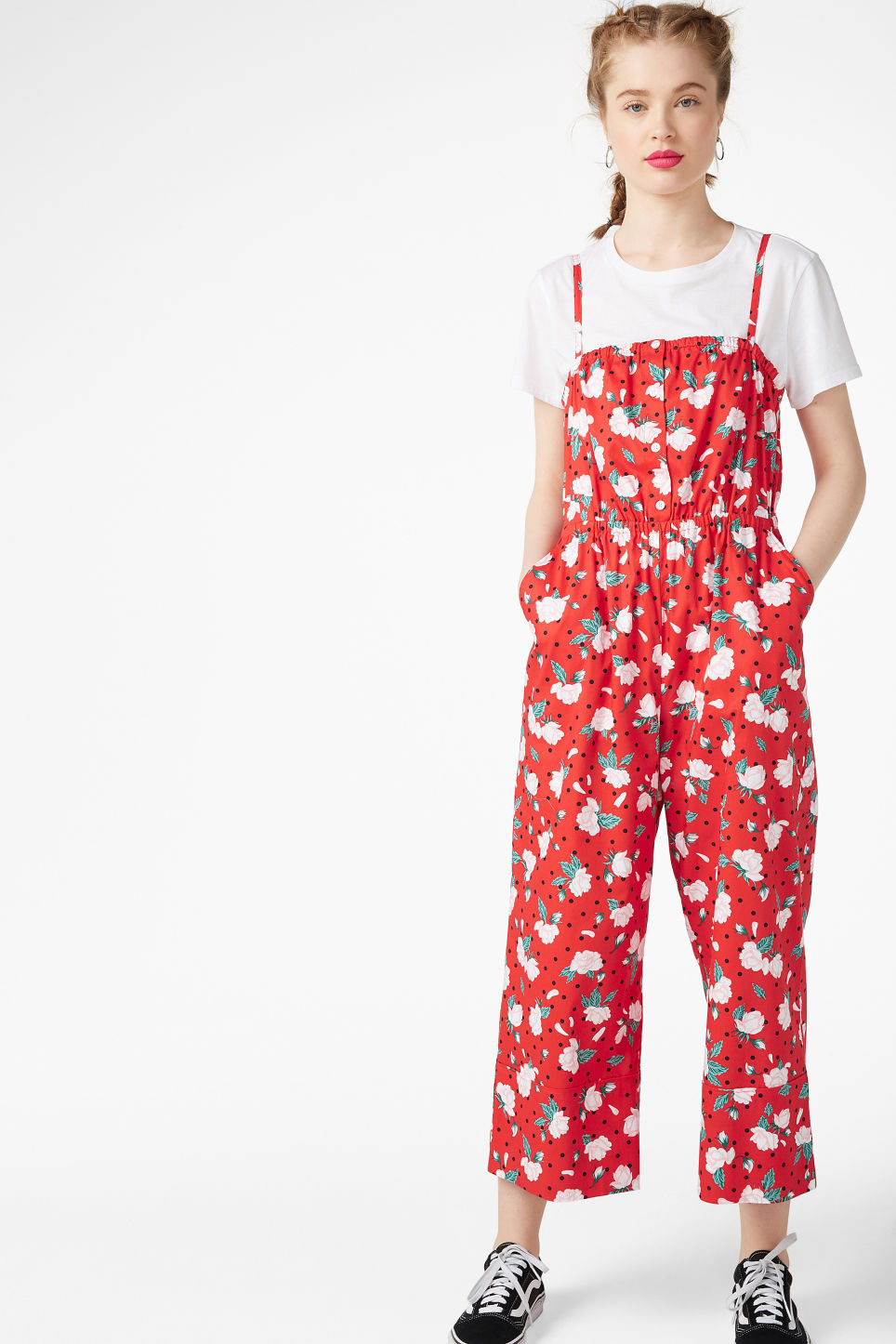 Model front image of Monki spaghetti strap jumpsuit in red