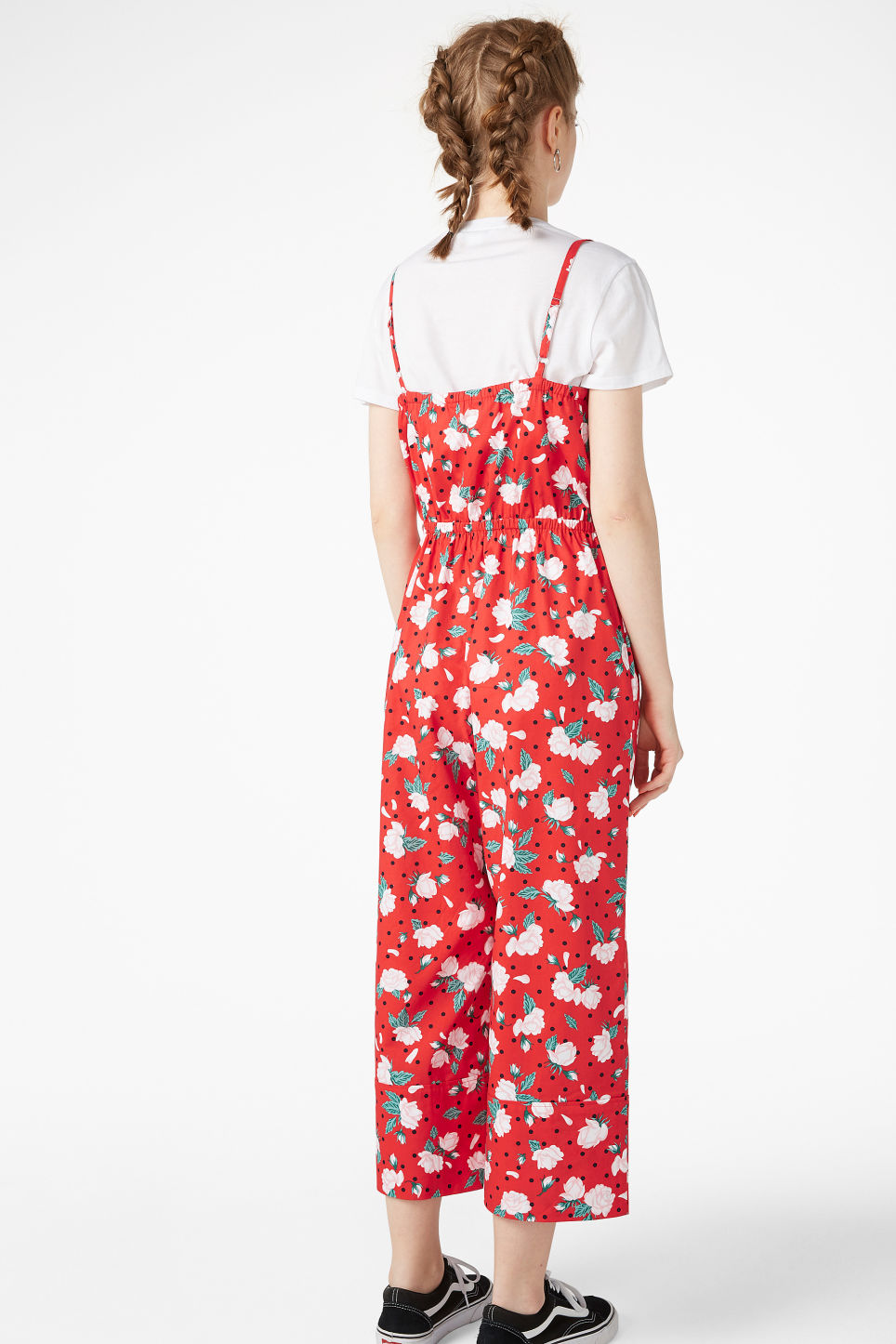 Model back image of Monki spaghetti strap jumpsuit in red