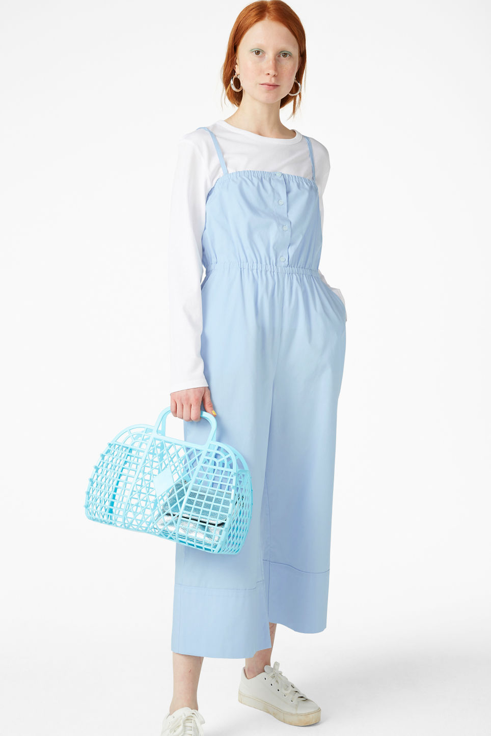 Model front image of Monki spaghetti strap jumpsuit in blue