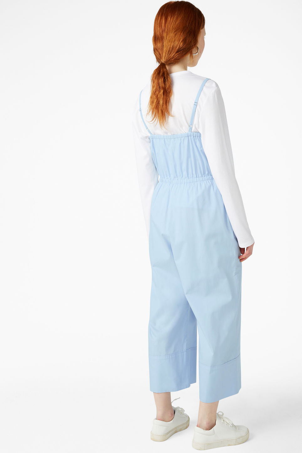 Model back image of Monki spaghetti strap jumpsuit in blue