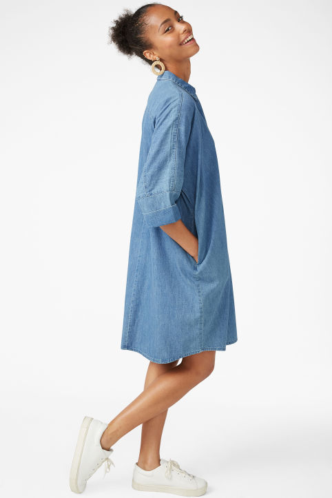 Hidden button shirt dress