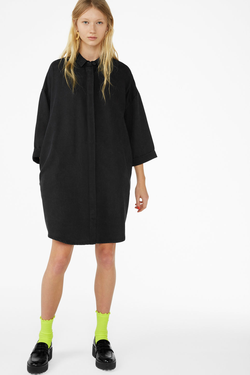 Model front image of Monki hidden button shirt dress in black