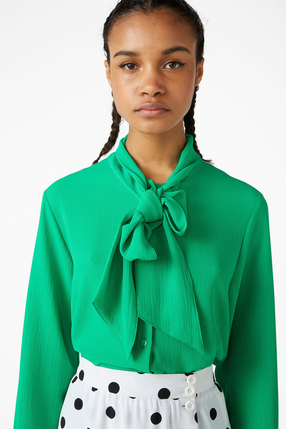 Model front image of Monki tie neck blouse in green