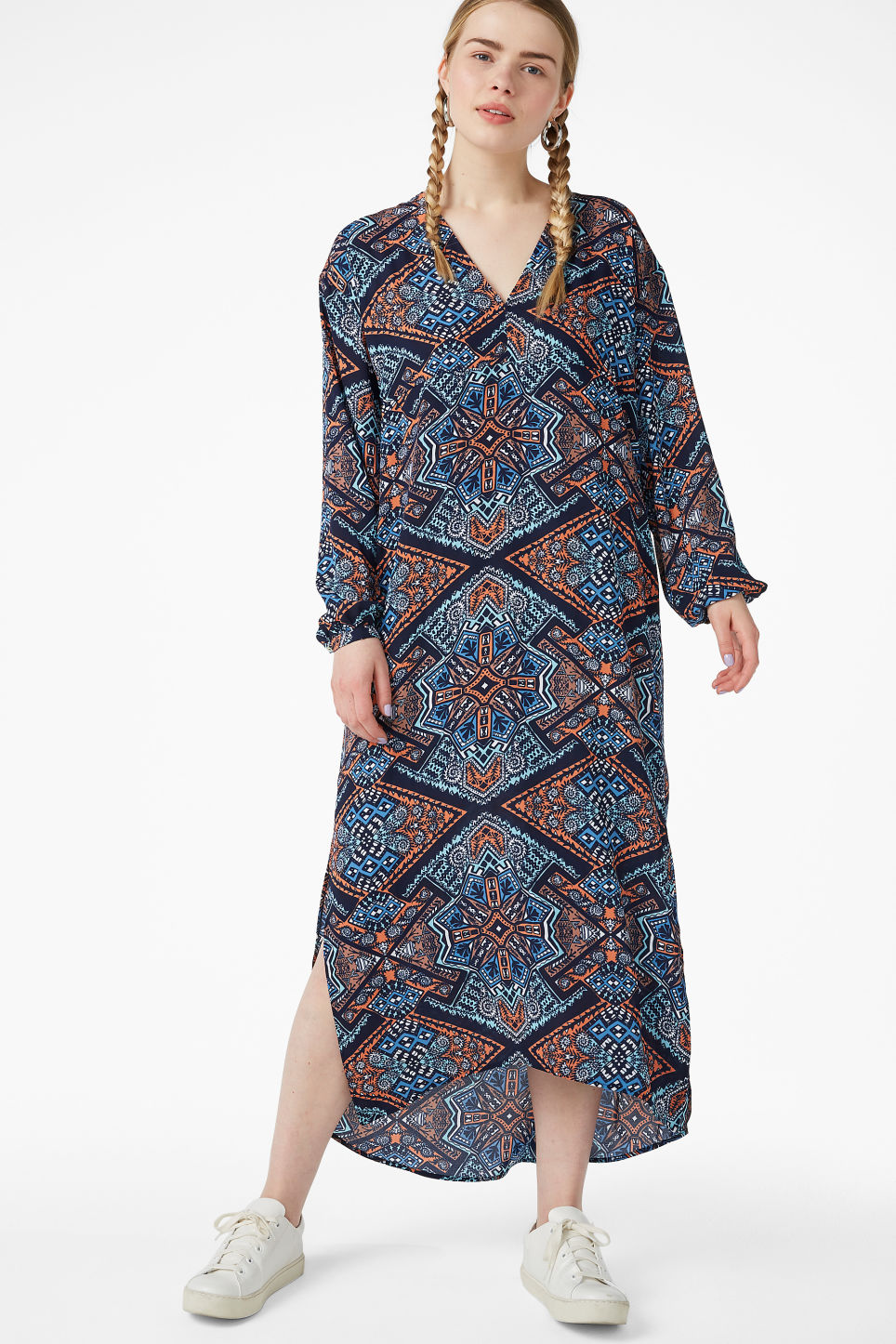 Model front image of Monki flowy maxi dress in blue