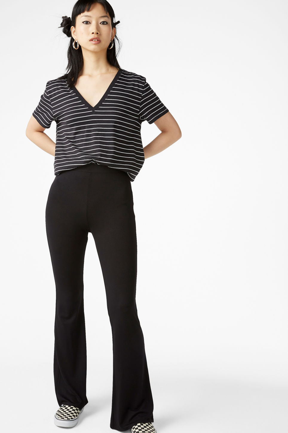 Model front image of Monki stretchy trousers in black