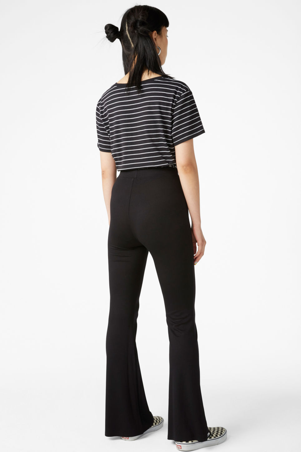 Model back image of Monki stretchy trousers in black