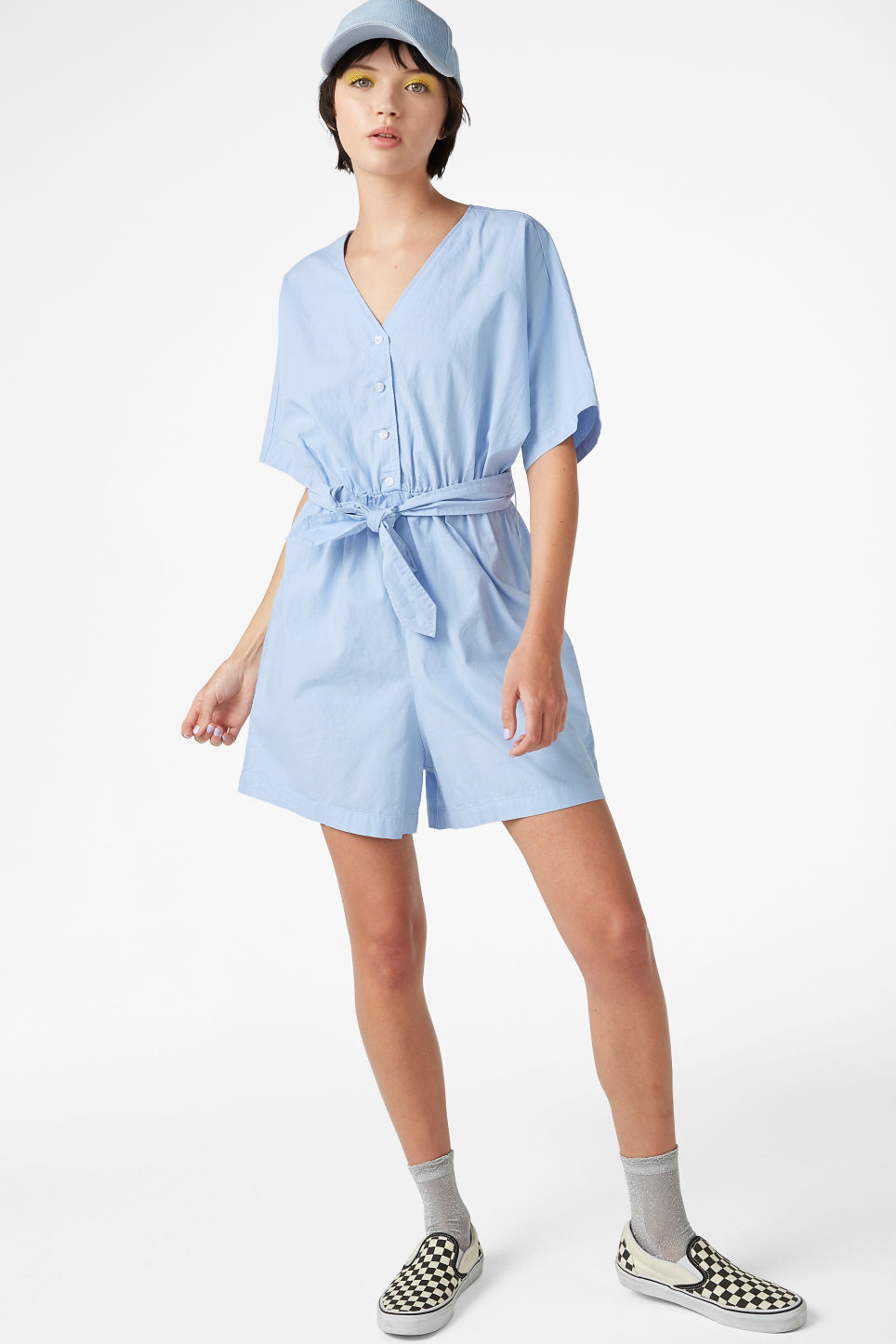 Model front image of Monki v-necked playsuit in blue