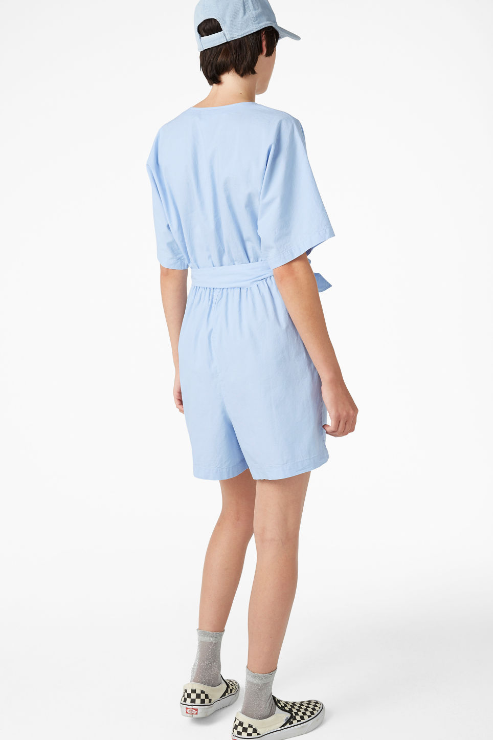 Model back image of Monki v-necked playsuit in blue