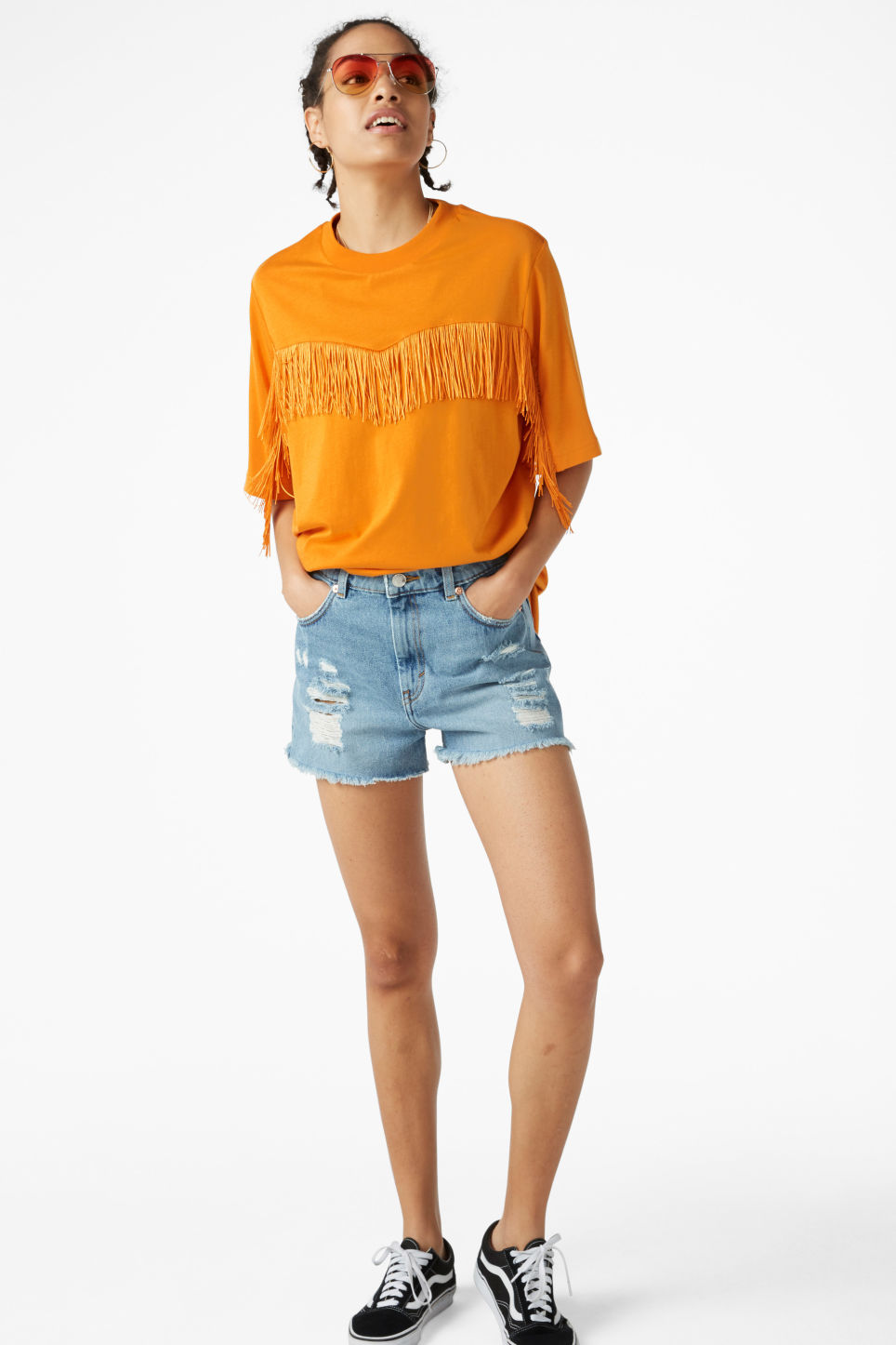 Model front image of Monki oversized fringe tee in yellow