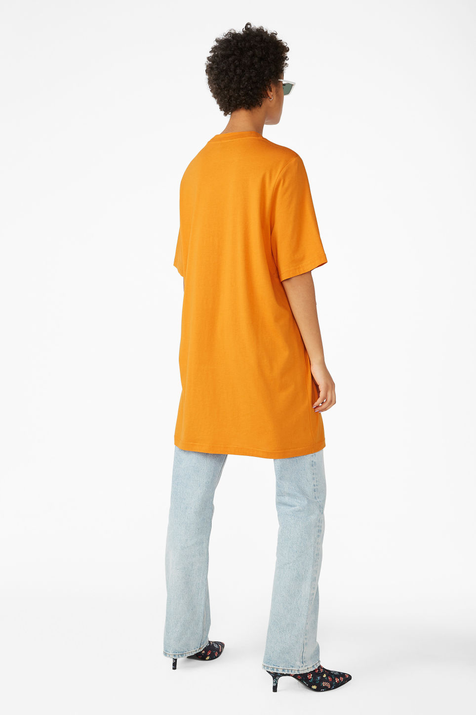Model back image of Monki oversized fringe tee in yellow