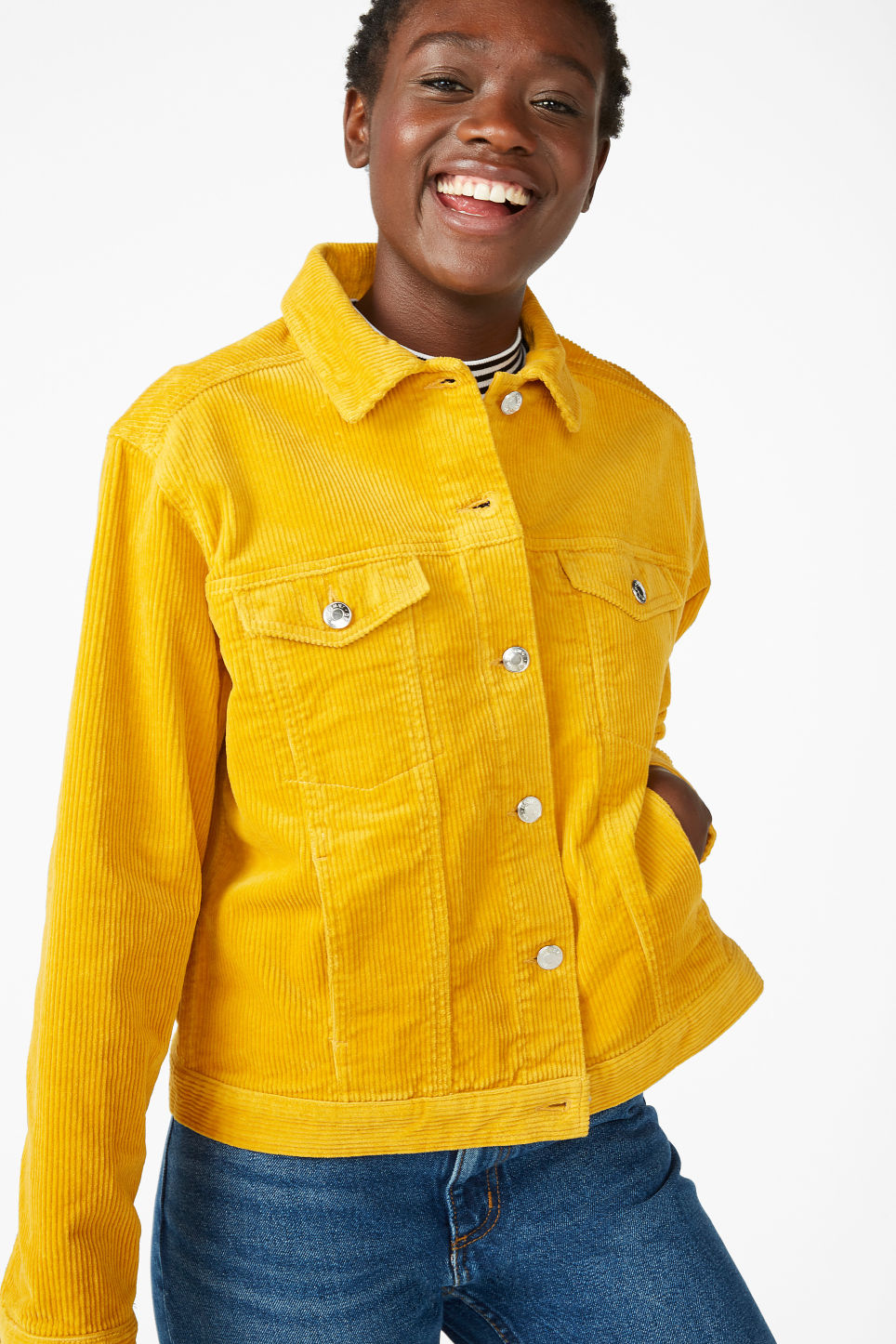 Model front image of Monki short jacket in yellow