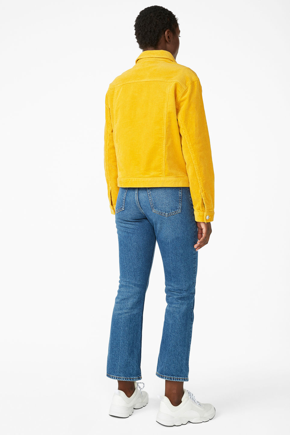 Model back image of Monki short jacket in yellow