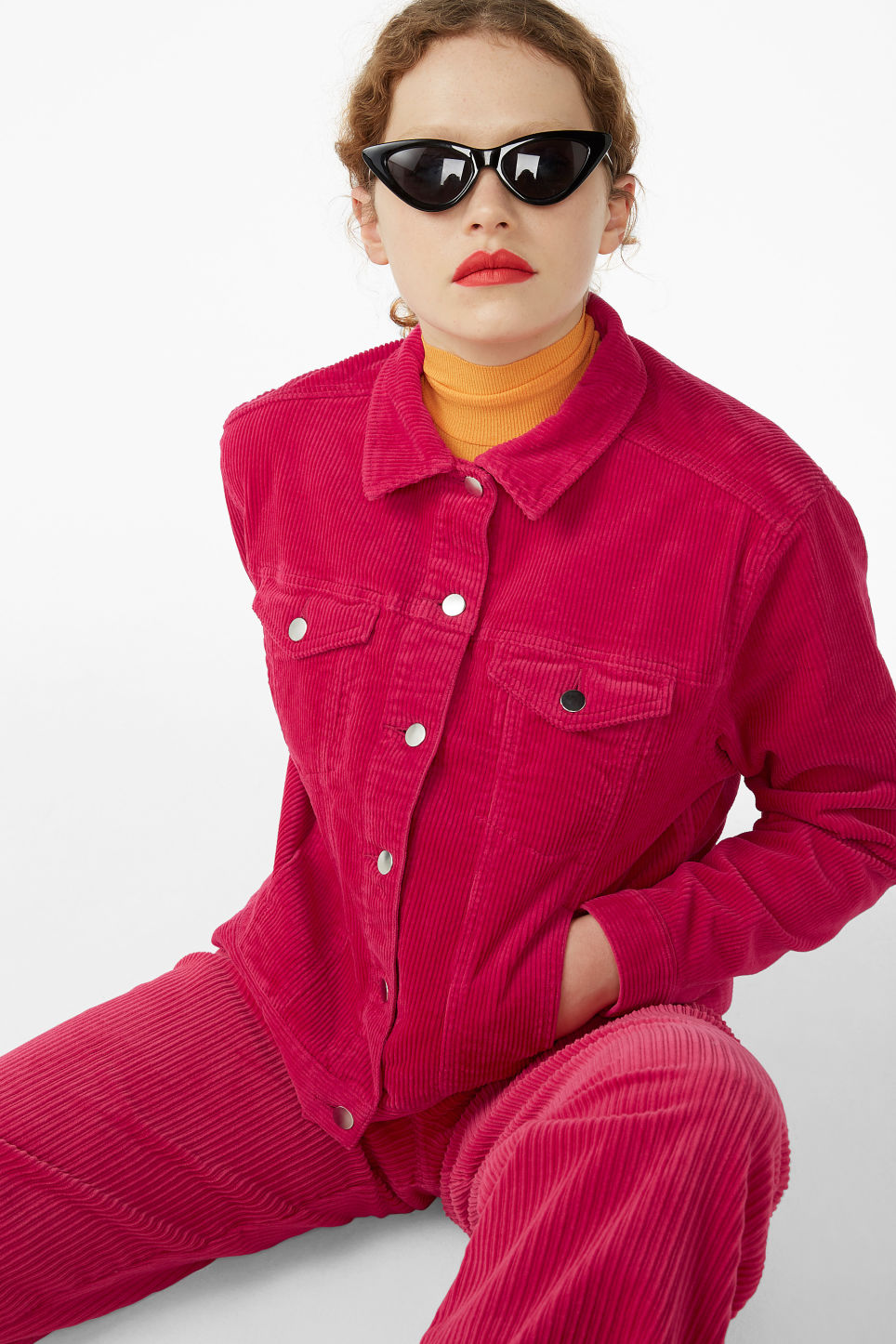 Model front image of Monki short jacket in pink