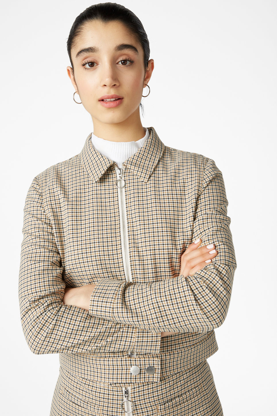 Model front image of Monki cropped jacket in yellow