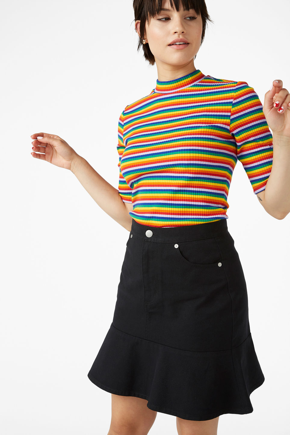 Model front image of Monki denim frill skirt in black
