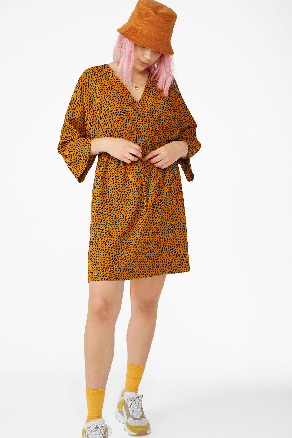 Model front image of Monki drawstring wrap dress in yellow