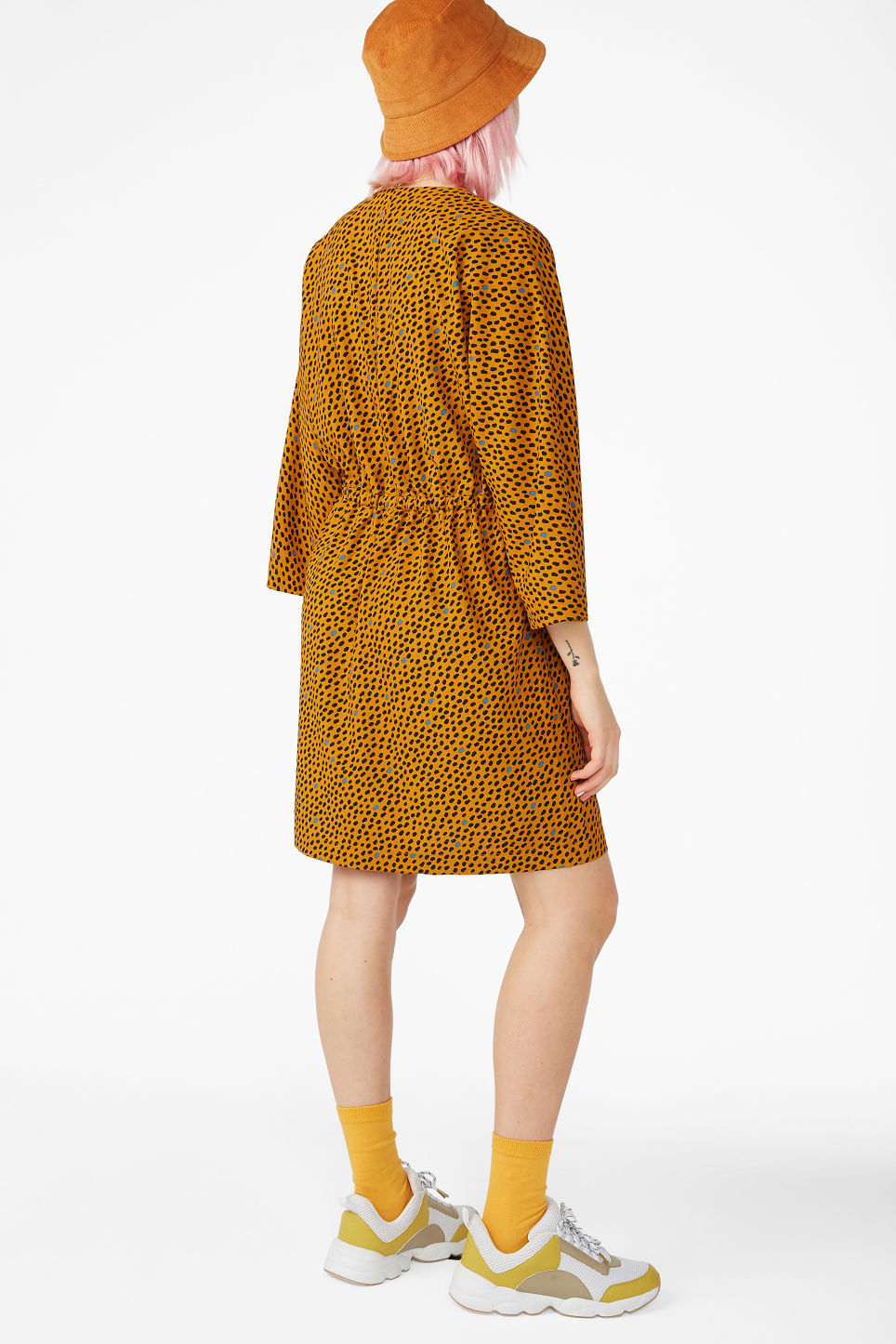 Model back image of Monki drawstring wrap dress in yellow