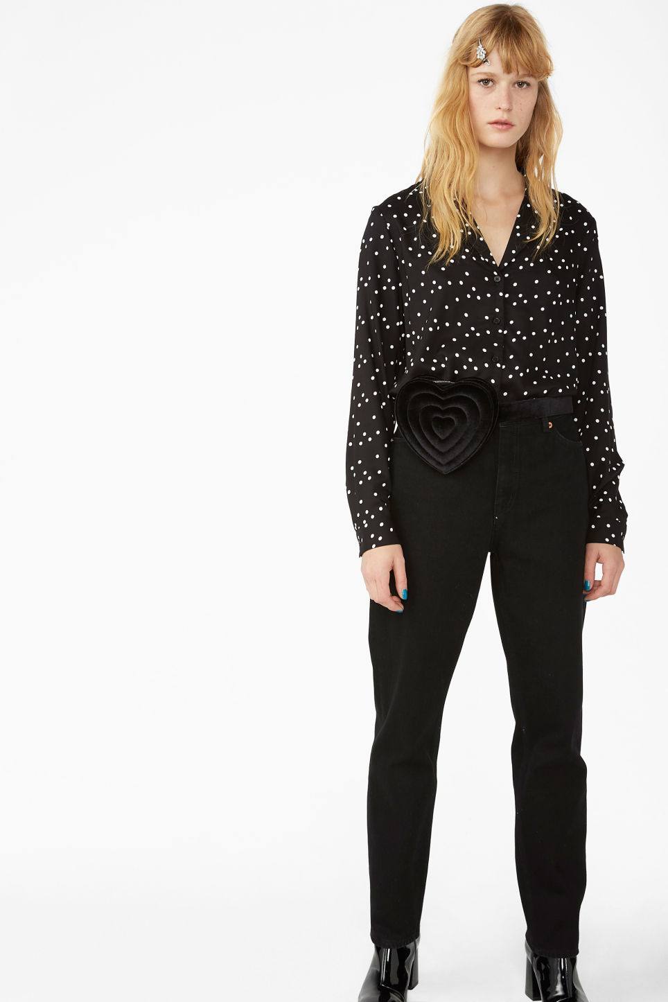 Model front image of Monki pyjama shirt in black