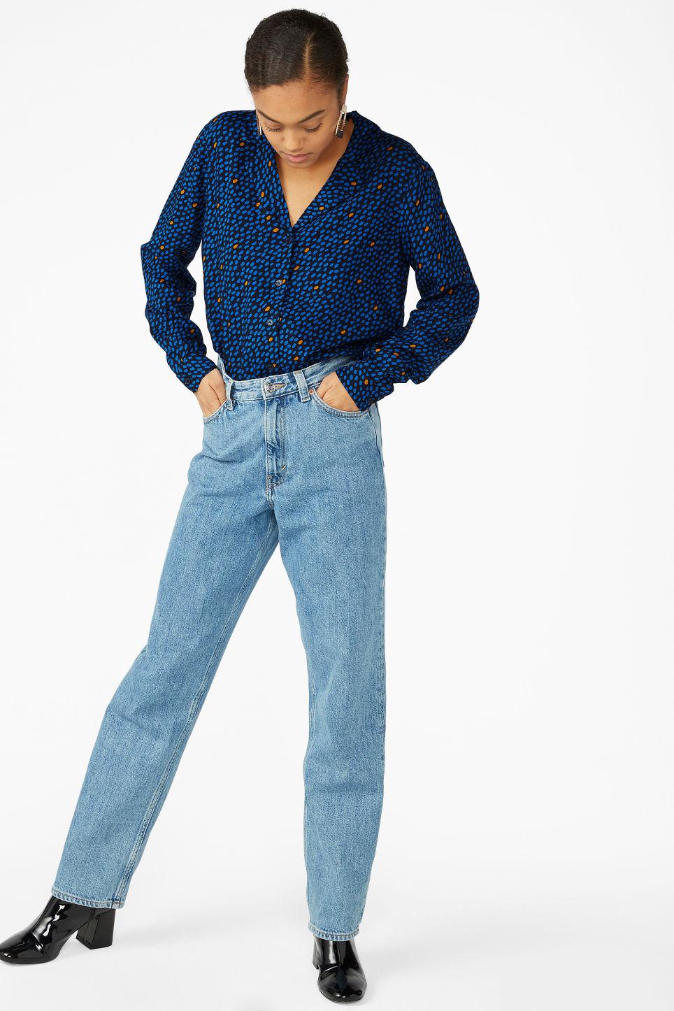 Model front image of Monki pyjama shirt in blue
