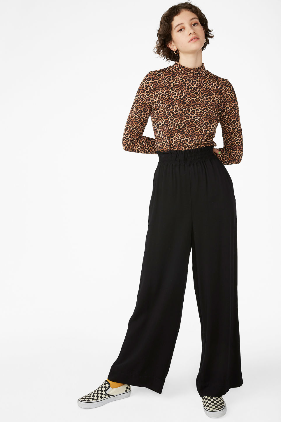 Model front image of Monki luxe viscose trousers in black